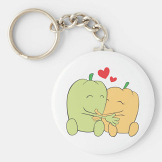 Two Sweet Bell Pepper Lovers Hugging Keychain
