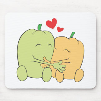 Two Sweet Bell Pepper Lovers Hugging Mousepads