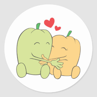 Two Sweet Bell Pepper Lovers Hugging Round Stickers