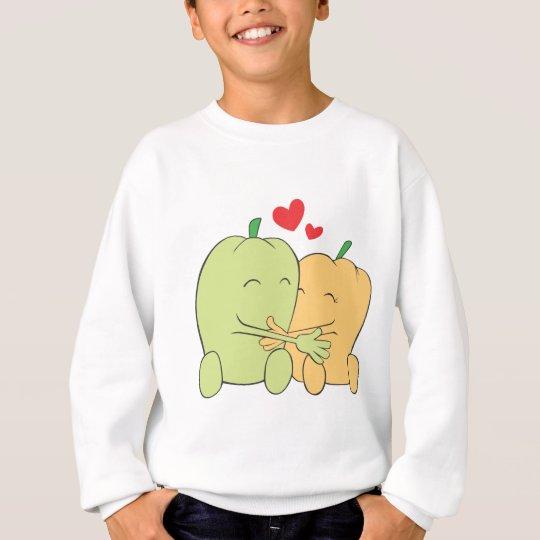 Two Sweet Bell Pepper Lovers Hugging Sweatshirt