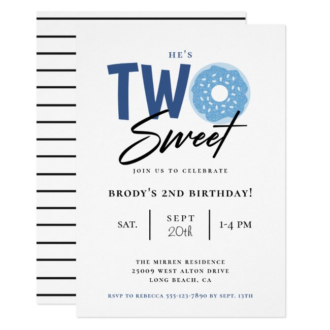 Two Sweet Blue Donut 2nd Birthday Party Invitation