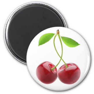 Two sweet cherries 2 inch round magnet