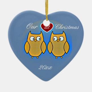 Two Sweet Owls Wedding Ceramic Ornament