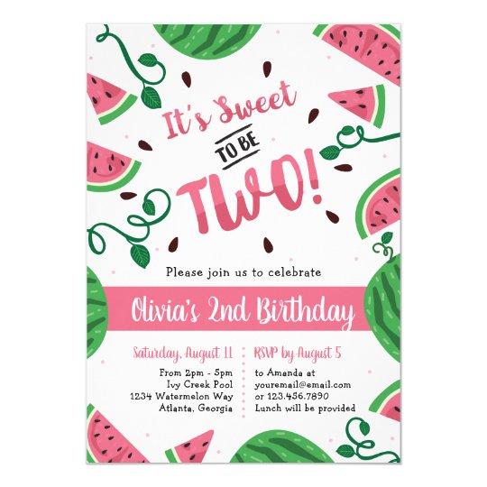 two sweet watermelon birthday party invitation zazzle com