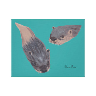 Two Swimming Otters Wrapped Canvas Canvas Print