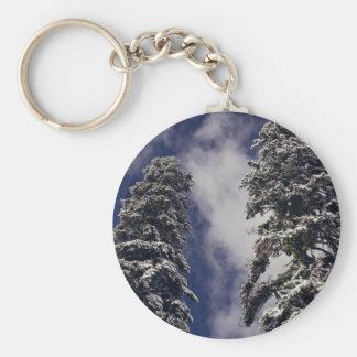 Two tall evergreens and the blue sky keychain
