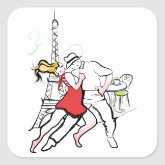 Two Tangueros in Paris Square Sticker