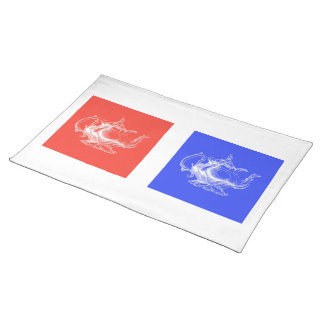 Two Tea Pots on red and blue placemat