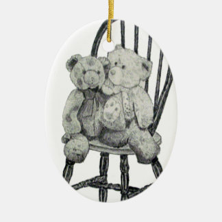 """""""Two Teddies in a Windsor"""" Oval Ornament"""