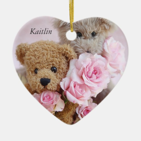 two teddy bears holding roses heart ornament