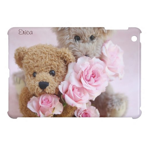 two teddy bears holding roses iPad mini case