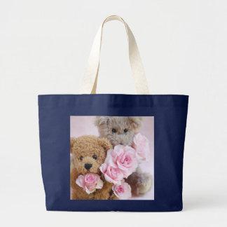 two teddy bears holding roses jumbo tote bag