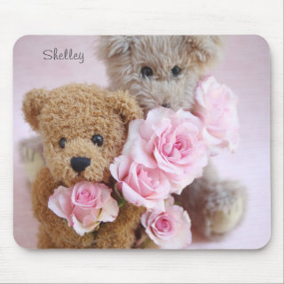 two teddy bears holding roses mousepad