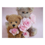 two teddy bears holding roses poster