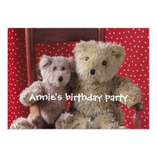 two teddy bears in a red chair invitation