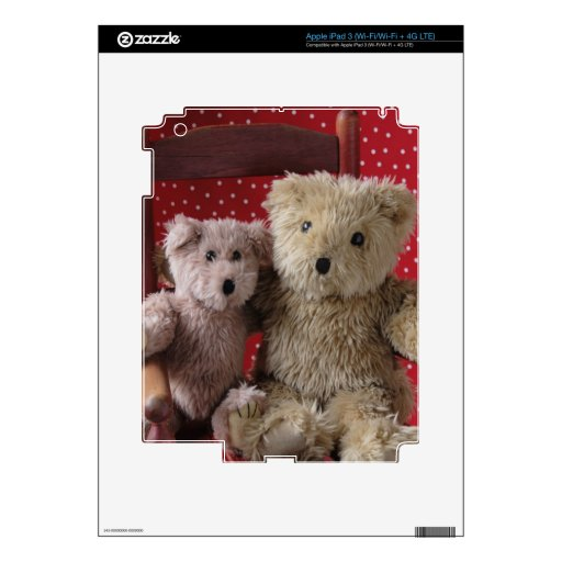 two teddy bears in a red chair iPad 3 skin
