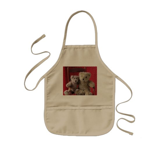 two teddy bears in a red chair kids apron