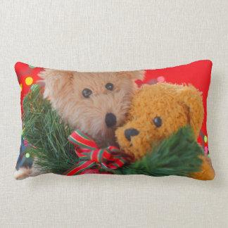 Two teddy bears with greenery and bow lumbar lumbar pillow