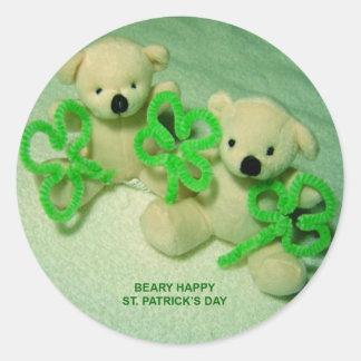 Two Teddy Bears with Shamrocks Classic Round Sticker