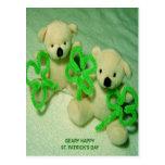 Two Teddy Bears with Shamrocks Post Card