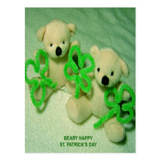 Two Teddy Bears with Shamrocks Postcard