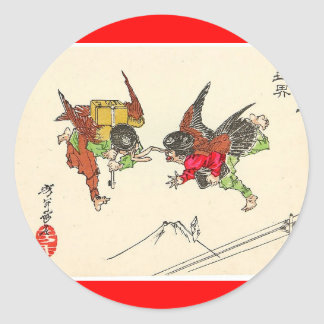 Two Tengu colliding. Mt. Fuji background, c. 1882 Classic Round Sticker