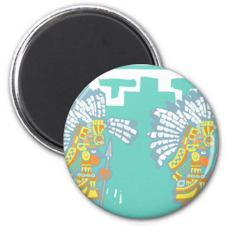 Two Teotihuacan Warriors #1 2 Inch Round Magnet