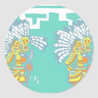 Two Teotihuacan Warriors #1 Classic Round Sticker