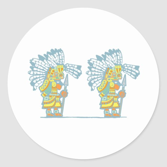 Two Teotihuacan Warriors #2 Classic Round Sticker