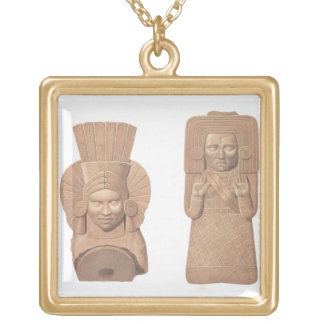 Two terracotta figures of women from Palenque, pla Gold Plated Necklace