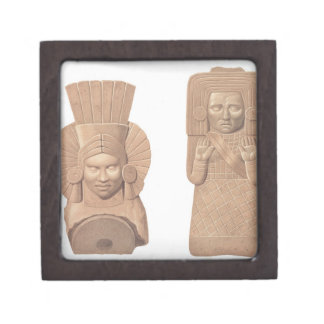 Two terracotta figures of women from Palenque, pla Jewelry Box