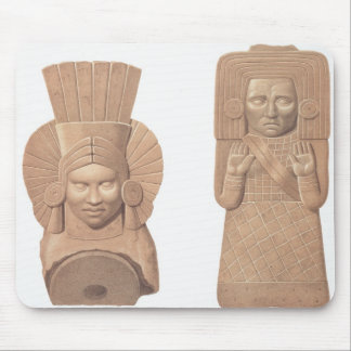 Two terracotta figures of women from Palenque, pla Mouse Pad