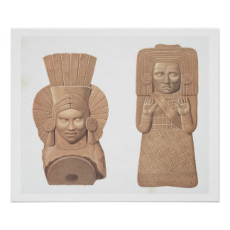 Two terracotta figures of women from Palenque, pla Poster