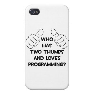Two Thumbs and Loves Programming iPhone 4 Cover