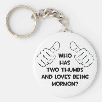 Two Thumbs .. Mormon Keychain