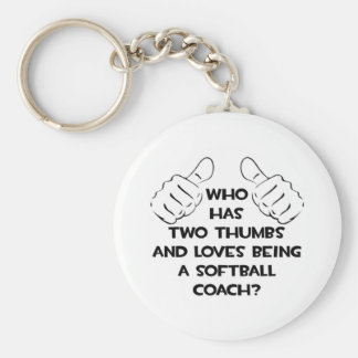 Two Thumbs Softball Coach Keychains