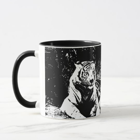 Two Tigers in Black and White Mug