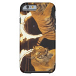 Two tigers leaping through burning rings of fire tough iPhone 6 case