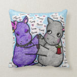 Two to Tango Hippos Throw Pillows