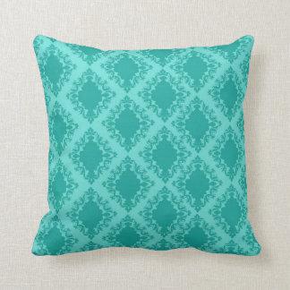 two tone aqua blue aqua diamond damask throw pillow