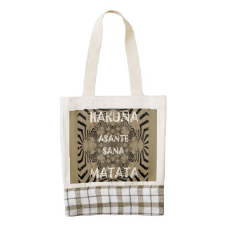 Two tone Asante Sana Hakuna Matata Beautiful women Zazzle HEART Tote Bag