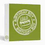Two Tone Birthday Boy rubber stamp effect 3 Ring Binders