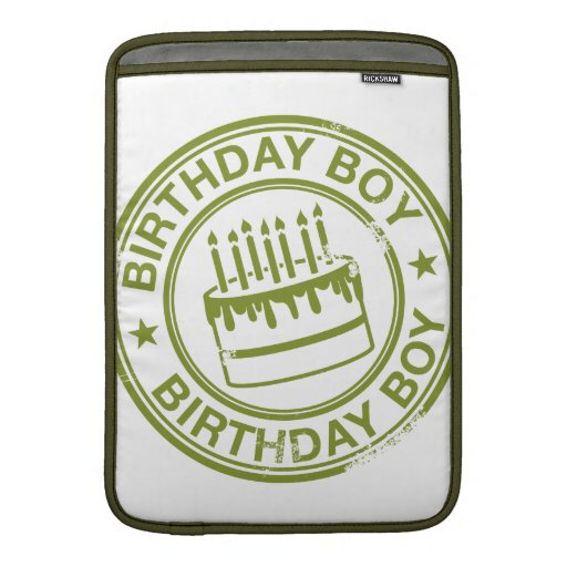 Two Tone Birthday Boy rubber stamp effect MacBook Sleeve