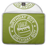 Two Tone Birthday Boy rubber stamp effect MacBook Pro Sleeves