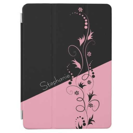 Two Tone Black and Pink Floral Swirls iPad Air Cover