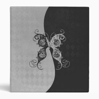 Two Tone Black and White Butterfly 3 Ring Binder