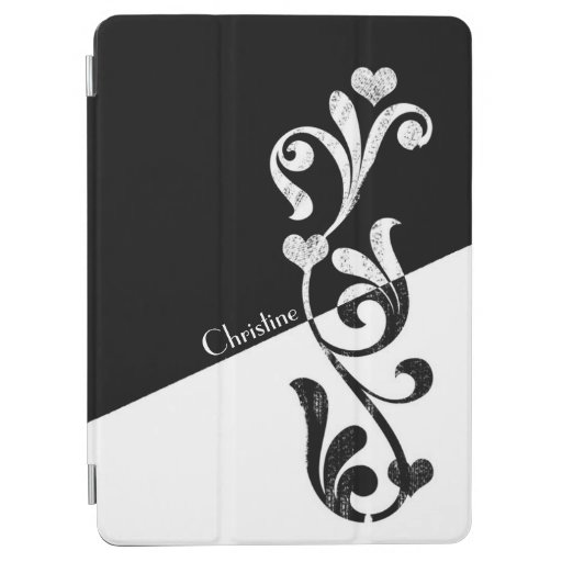 Two Tone Black and White Floral Swirls iPad Air Cover