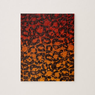 Two Tone Black Red Cheetah Jigsaw Puzzle