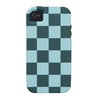 Two Tone Blue Checker Pattern Vibe iPhone 4 Covers