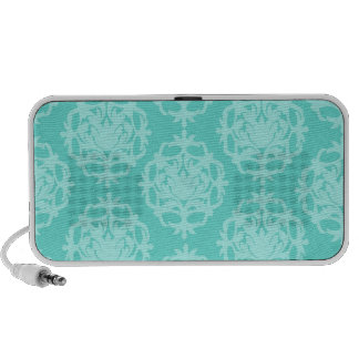 two tone blue damask speakers